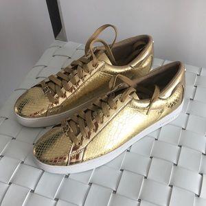 NWOT Michael Kors Gold Patent Faux Alligator Shoes